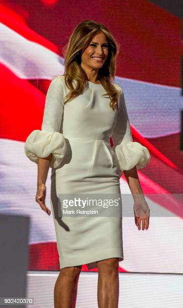 View of former model Melania Trump onstage on first night of Republican National Convention at Quicken Loans Arena Cleveland Ohio July 18 2016
