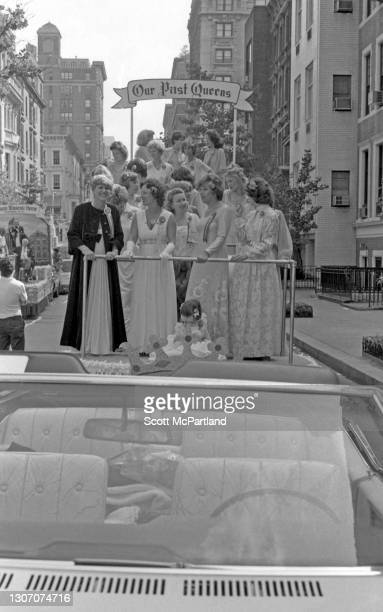View of former parade queens riding together on a parade float during the 25th annual German-American Steuben parade on 5th Avenue, New York, New...