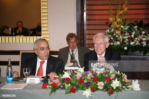 View of former Prime Minister of the Palestinian Authority Salam Fayyad and Governor of the Bank of Israel Professor Stanley Fischer during a...