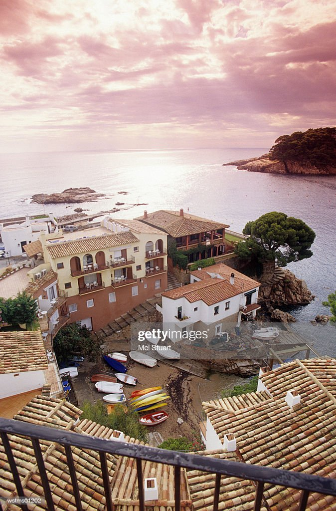 View of Fornells, view from hotel Aiguablava, Costa Brava, Catalonia, Spain, elevated view : Foto de stock