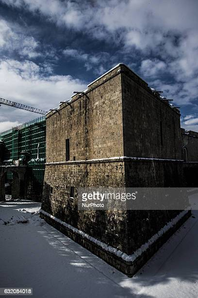 View of Forte Spagnolo hit by snow in L'Aquila, Italy, on January 19, 2017. A great deal of snow has fallen in the area, which was hit by four quakes...