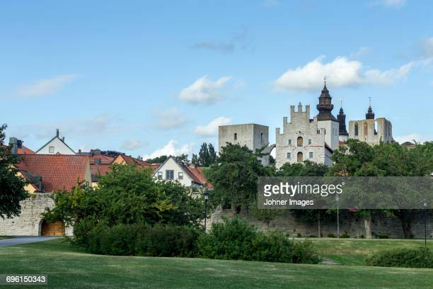 View of fortified walls and castle