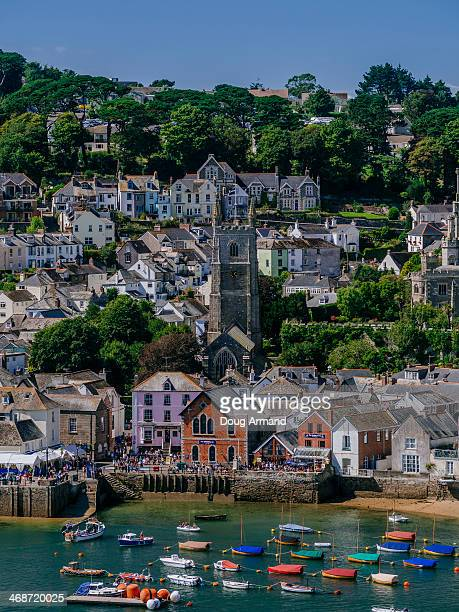View of Fowey seafront, Cornwall, UK