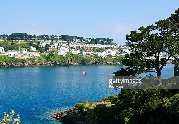view of Fowey town and coastline-cornwall