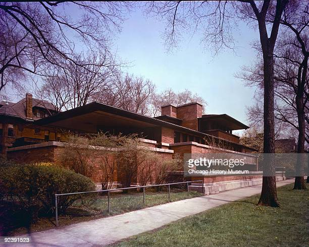 View of Frank Lloyd Wright's Robie House completed in 1910 Chicago IL 1956