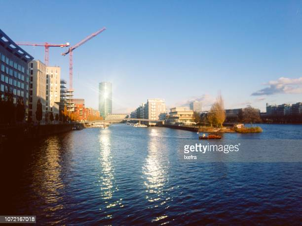 A view of Frankfurt city (Westhafen) along the Main river