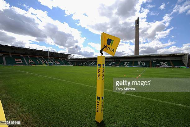 View of Franklin's Gardens home of Northampton Saints with Aviva flag post before the Aviva Premiership match between Northampton Saints and Exeter...