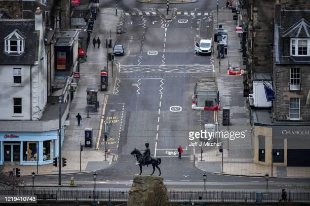View of Frederick Street during the coronavirus pandemic on April 17, 2020 in Edinburgh, Scotland. The Coronavirus pandemic has spread to many...