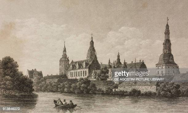 View of Frederiksborg Castle, Denmark, engraving by Lemaitre from Danemark, by Eyres and Chopin, L'Univers pittoresque, published by Firmin Didot...