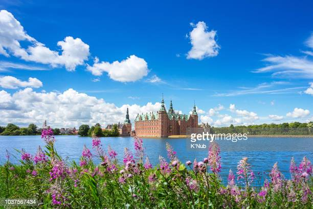 view of frederiksborg castle with hillerod city and pond with pink flower near copenhagen denmark europe scandinavia - hillerod stock pictures, royalty-free photos & images