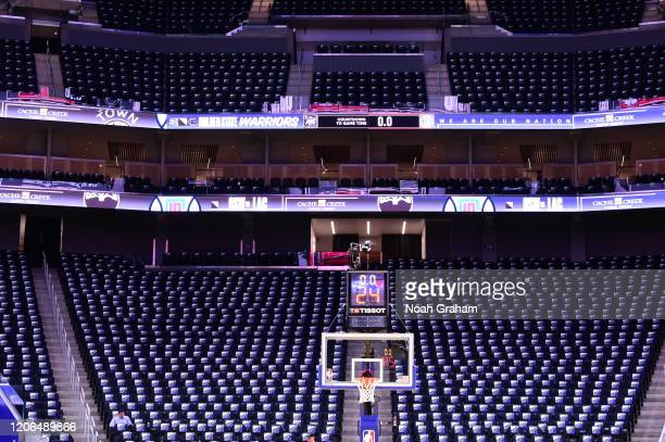 View of free t-shirts prior to a game between the LA Clippers and the Golden State Warriors on March 10, 2020 at Chase Center in San Francisco,...