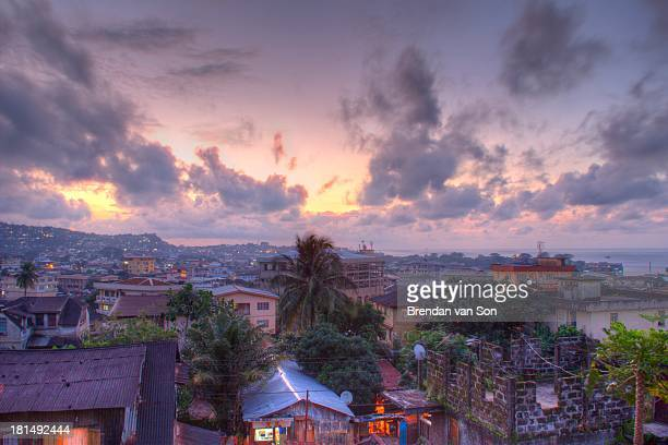 CONTENT] View of Freetown Sierra Leone at sunset