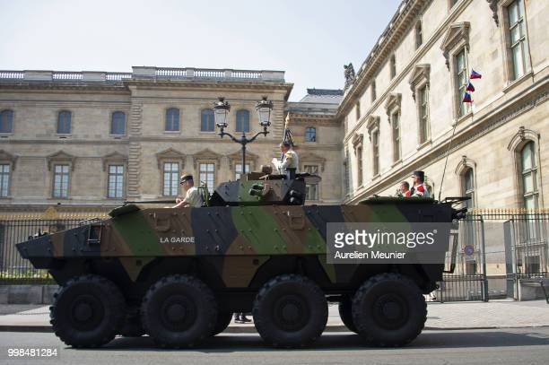 A view of French army armored vehicule driving down the Rivoli street during the Bastille day ceremony on July 14 2018 in Paris France The Bastille...