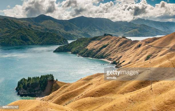 view of french pass, marlborough sounds south island new zealand - marlborough new zealand stock pictures, royalty-free photos & images