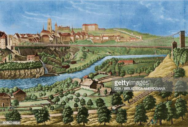 View of Fribourg and the iron bridge over the Sarine river Switzerland plate from Peregrinazione al Gran San Bernardo Losanna Friburgo Ginevra con...