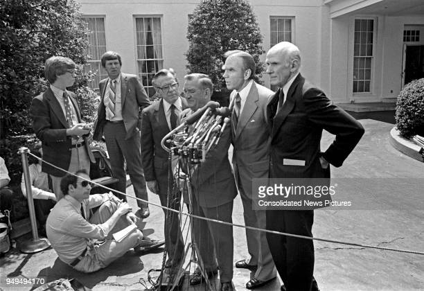 View of, from center left, American politicians US Representatives William S Broomfield, Clement Zablocki , and Jim Wright , and US Senator Alan...