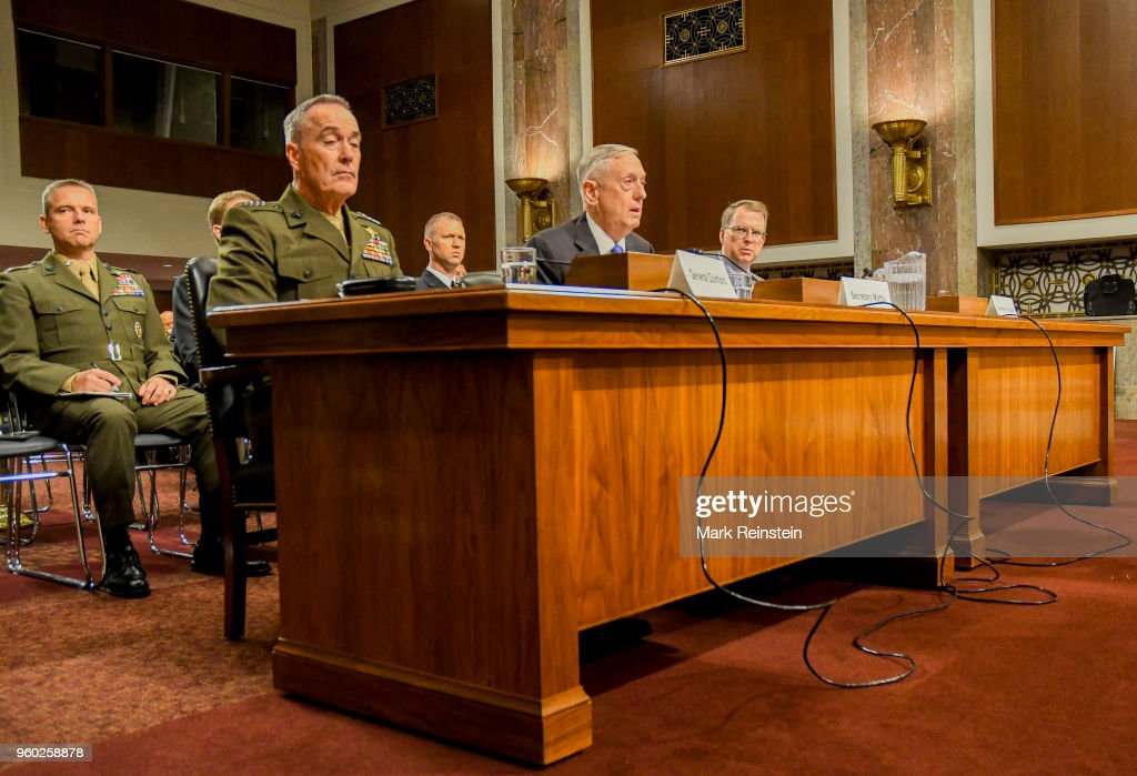 View of, from fore left, American military commander and Chariman of the Joint Chiefs of Staff General Joseph Dunford, Secretary of Defense Jim Mattis, and Pentagon Comproller and Under Secretary of Defense David Norquist as they appear before the Senate Armed Services Committee during a budget hearing, Washington DC, June 13, 2017.