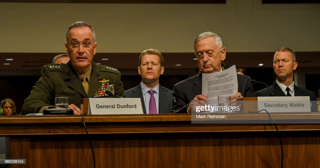 View of, from fore left, American military commander and Chariman of the Joint Chiefs of Staff General Joseph Dunford and Secretary of Defense Jim Mattis as they appear before the Senate Armed Services Committee during a budget hearing, Washington DC, June 13, 2017.