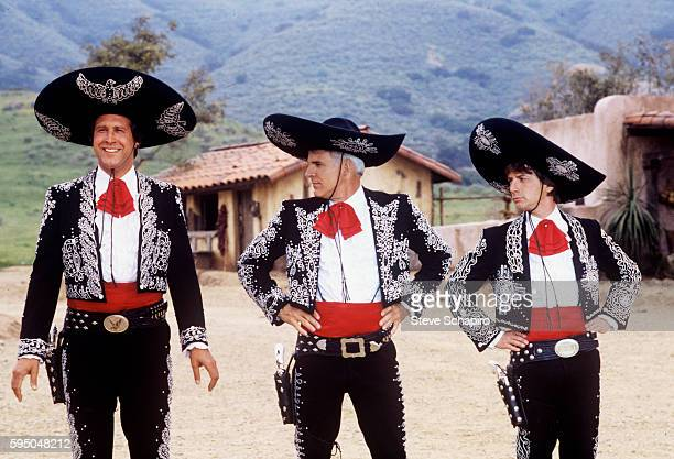 View of from left actors and comedians Chevy Chase Steve Martin and Martin Short in a scene from the film 'The Three Amigos' 1986