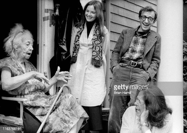 View of from left American actors Helen Ludlam Diane Keaton and Woody Allen and Canadianborn Colleen Dewhurst on the set of their film 'Annie Hall'...