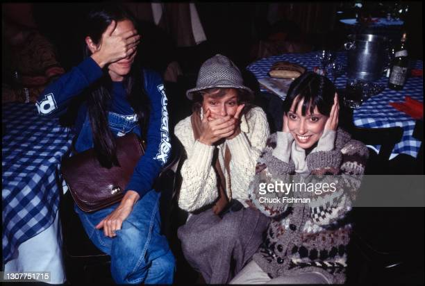 View of, from left, American actresses Geraldine Chaplin, Lauren Hutton, and Shelley Duvall as they clown about at Elaine's restaurant, New York, New...