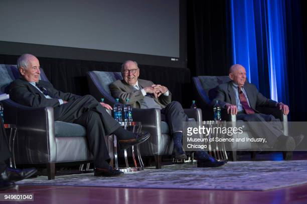 View of from left American astronauts William Anders James Lovell and Frank Borman all of whom participated in NASA's Apollo 8 mission during a panel...