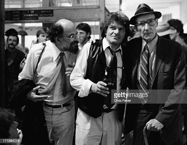 View of from left American Beat authors Allen Ginsberg Gregory Corso and William S Burroughs as they attend an unspecified event Boulder Colorado 1994