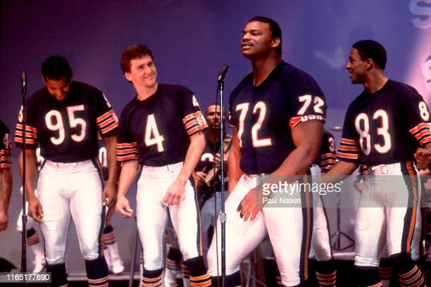View of from left American football players Richard Dent Steve Fuller William 'The Refrigerator' Perry and Willie Gault all of the Chicago Bears...