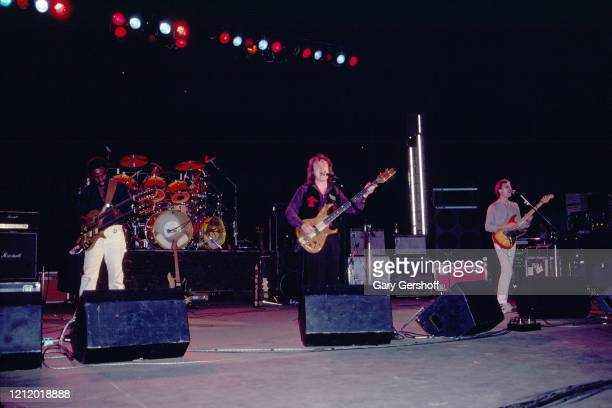 View of, from left, American Jazz and Rock musicians David Sancious, on guitar, and Billy Cobham , on drums, Scottish musician Jack Bruce , on bass,...