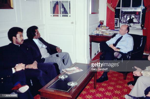 View of from left American religious and Civil Rights activist Reverend Al Sharpton Soul and RB singer James Brown and New York Mayor Ed Koch talk...