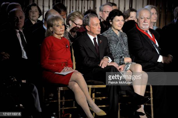 View of from left Barbara Walters New York City Mayor Michael Bloomberg Diana Taylor and Vartan Gregorian as they attend the New York Public...
