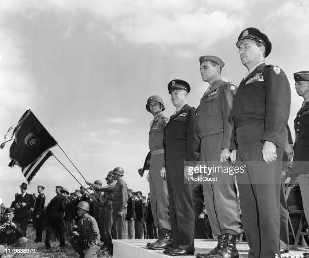 View of from left Brigadier General James M Gavin Supreme Allied Commander General Dwight D Eisenhower Commanding General of 82nd Airborne Division...