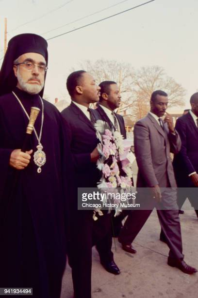 View of from left Civil Rights and religious leaders Archbishop Iakovos Dr Martin Luther King Jr Reverend Ralph Abernathy and Reverend Fred...