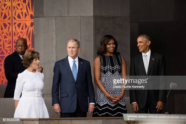 View of from left Congressman John Lewis former First Lady Laura Bush former President George W Bush First Lady Michelle Obama and President Barack...