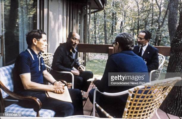 View of, from left, Egyptian Ambassador to the US Osama El-Baz , Egyptian President Anwar Al Sadat , Egyptian Deputy Prime Minister Hassan Tuhami ,...