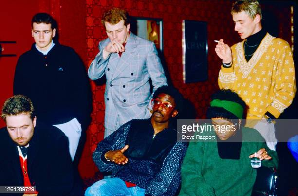 View of from left English musicians Jerry Dammers Steve White Mick Talbot Junior Giscombe Dee C Lee and Paul Weller Red Wedge Tour Manchester Apollo...