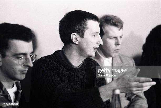 View of, from left, English musicians Richard Coles, from the Communards, Billy Bragg, and Mick Talbot, the latter of the Style Council, Red Wedge...