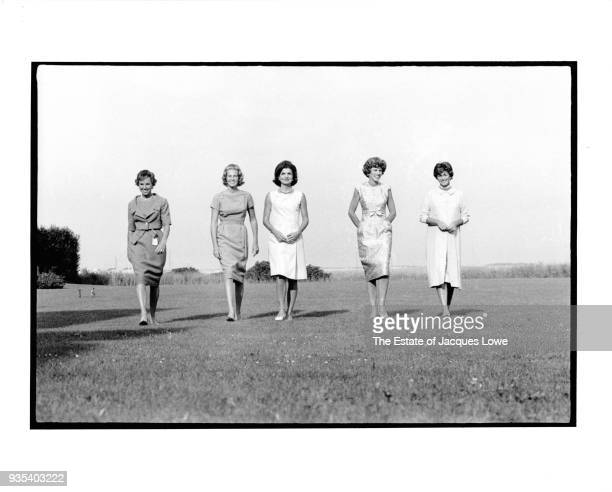 View of from left Ethel Skakel Kennedy Joan Bennett Kennedy Jacqueline Bouvier Kennedy Eunice Kennedy Shriver and Jean Kennedy Smith as they walk...