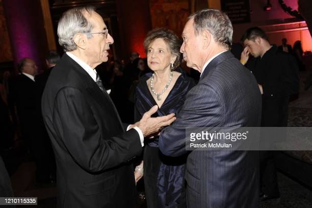 View of from left former New York City Mayor Mario Cuomo Matilda Cuomo and thencurrent New York City Mayor Michael Bloomberg as they talk together...