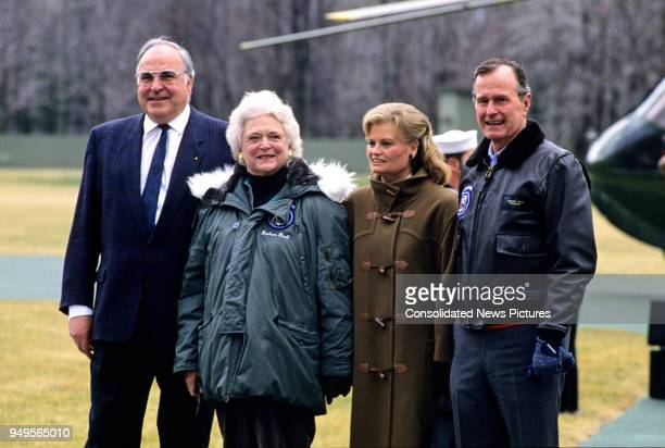 View of from left German Chancellor Helmut Kohl American First Lady Barbara Bush German Wife of the Chancellor Hannelore Kohl and US President George...