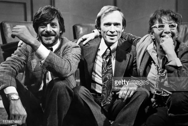 View of from left Italian actor Giancarlo Giannini talk show host Dick Cavett Italian director Lina Wertmuller New York New York 1978
