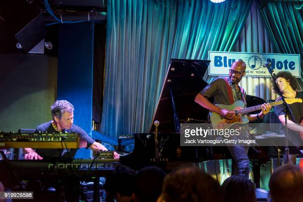 View of from left Jazz musicians Chick Corea on keyboards Lionel Loueke on guitar and Carlitos Del Puerto on upright acoustic bass perform with the...