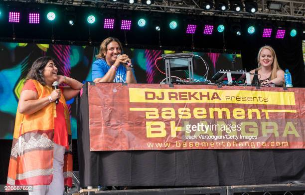 View of, from left, Kenyan-born, British-Indian film director Gurinder Chadha , British-born, American musician and producer DJ Rekha , and American...