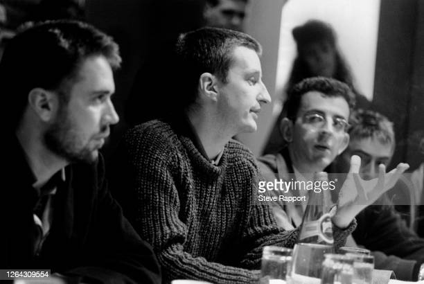 View of, from left, musicians Jerry Dammers, Billy Bragg, Richard Coles, and Paul Weller during a press conference on the Red Wedge Tour, De Montfort...