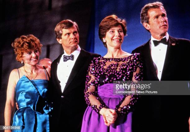 View of from left Sally Dunbar Atwater and her husband Chairman of the Republican National Committee Lee Atwater Laura Bush and her husband campaign...