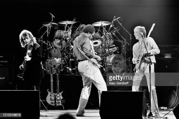 View of, from left, Scottish Jazz and Rock musician Jack Bruce , on bass, American musicians Billy Cobham , on drums, and David Sancious, on guitar,...