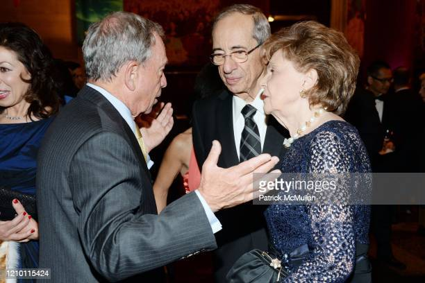 View of from left thencurrent New York City Mayor Michael Bloomberg former New York City Mayor Mario Cuomo and Matilda Cuomo as they talk together...