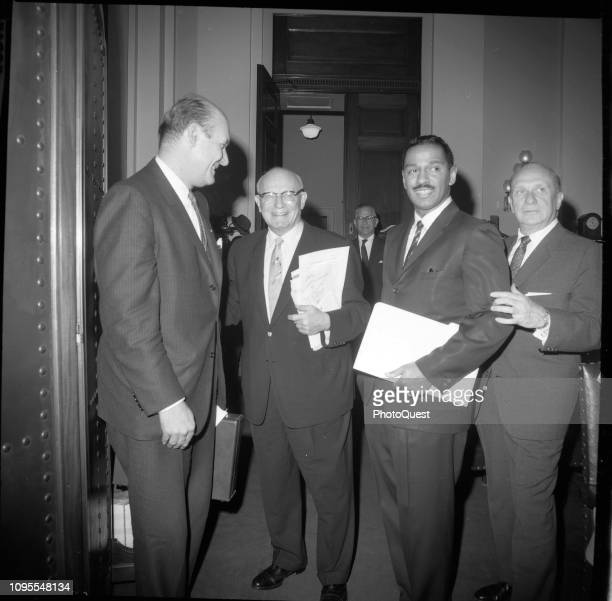 View of from left United States Attorney General Nicholas Katzenbach with US Congressmen Emanuel Celler John Conyers and Herbert Tenzer as they...