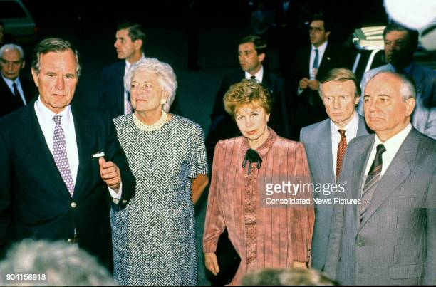 View of from left US President George HW Bush First Lady Barbara Bush Raisa Gorbacheva an unidentified translator and Soviet President Mikhail...