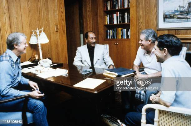 View of from left US President Jimmy Carter Egyptian President Anwar Al Sadat US Secretary of State Cyrus Vance and Egyptian Ambassador to the US...